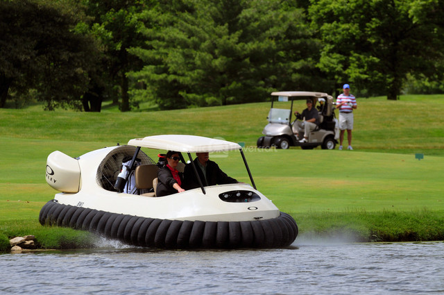 Neoteric Hovercraft Golf Cart soars over water hazards at Four Bridges Country Club