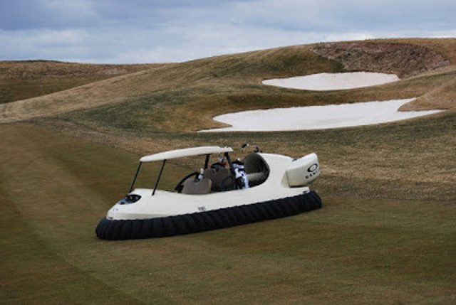 Matt Lauer and Al Roker fly BW1 Neoteric Hovercraft Golf Cart at Trump National Golf Club
