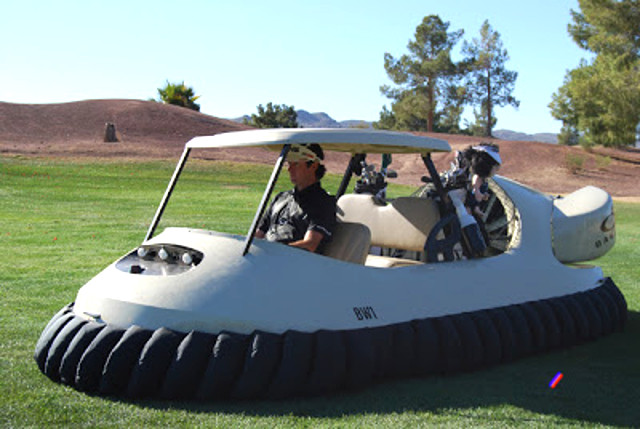 Bubba Watson pilots Neoteric Hovercraft BW1 during filming of Bubba's Hover at Raven Golf Club