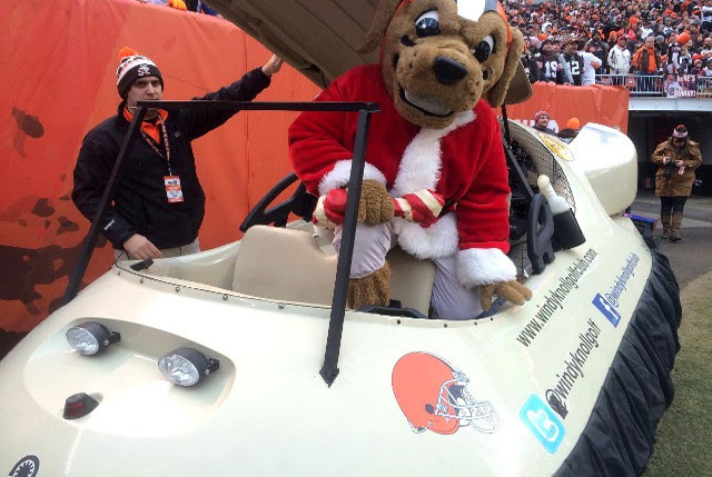 Cleveland Browns mascot Chomps flies in Neoteric Hovercraft Golf Cart