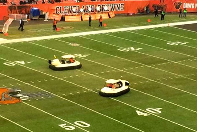 Bubba Watson Hovercraft Golf Cart Bubba's Hover perform at Cleveland Browns Cincinnati Bengals game at FirstEnergy Stadium